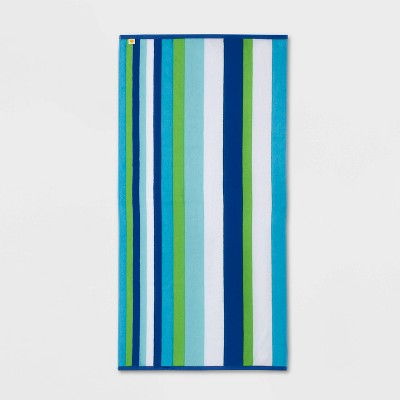 Cool Striped Sand Resistant Beach Towel Blue/Green - Sun Squad™