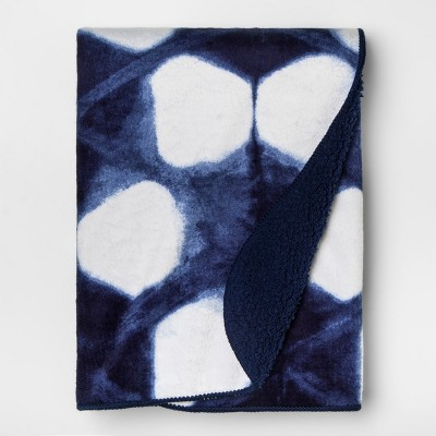 Plush Velboa Baby Blanket Shibori - Cloud Island™ Navy