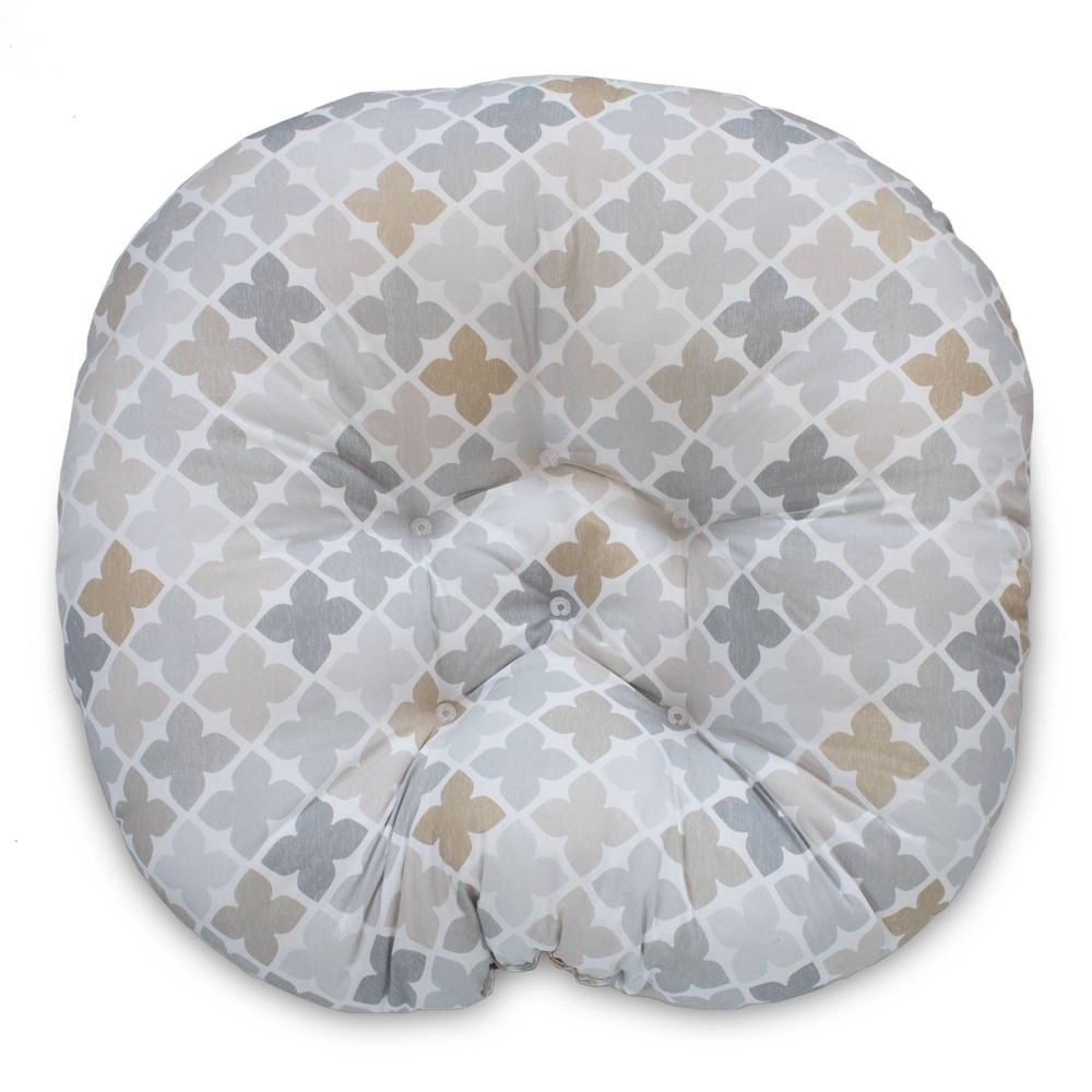 Image of Boppy Newborn Lounger - Gray Taupe Four Square, Beige Gray Multicolored