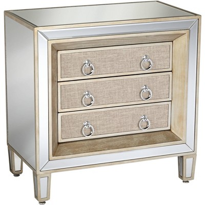 """55 Downing Street Mira 28"""" Wide 3-Drawer Mirrored Accent Table"""