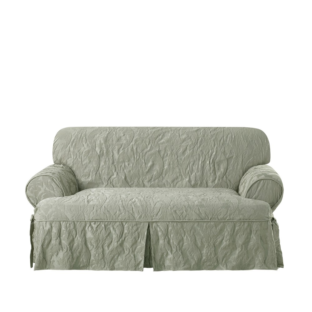 Awesome Matelasse Damask T Loveseat Sage Green Sure Fit Ncnpc Chair Design For Home Ncnpcorg