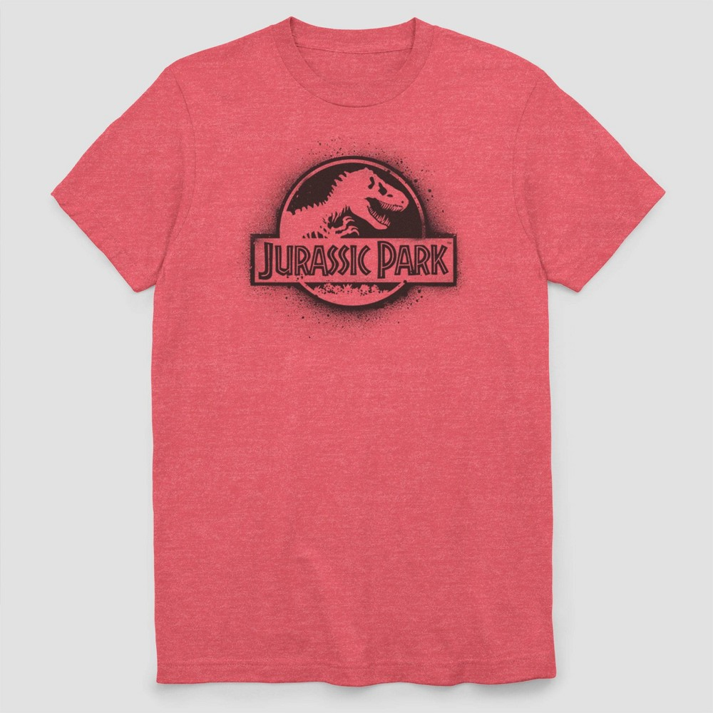 Image of Men's Jurassic Park Spray Paint Logo Short Sleeve Graphic T-Shirt - Red M, Men's, Size: Medium