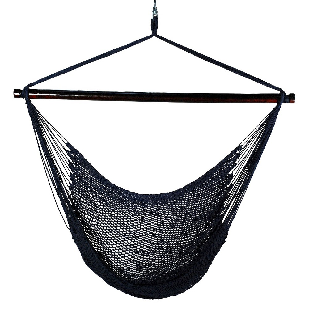 Outdoor Hanging Caribbean Rope Chair - Navy (Blue)