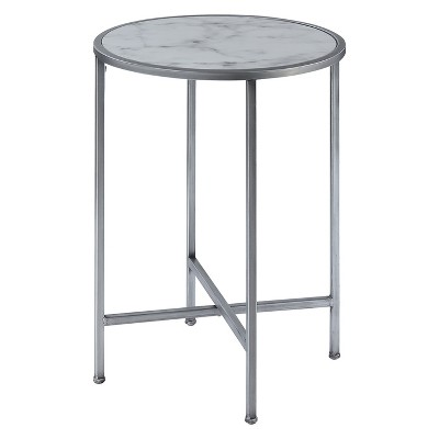 Gold Coast Faux Marble Round End Table Faux Marble/Silver - Breighton Home