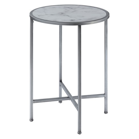 Gold Coast Faux Marble Round End Table Faux Marble/Silver - Johar - image 1 of 6