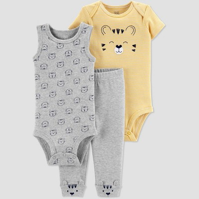 Baby Boys' 3pc Tiger Top And Bottom Set - Just One You® made by carter's Yellow/Gray 24M