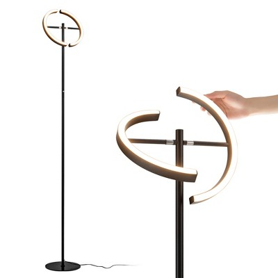 Costway LED Floor Lamp Modern Standing Pole Light Dimmable Torchiere Touch Control Black