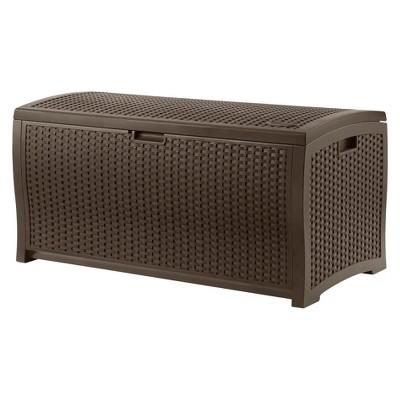 Resin Wicker Deck Box 73 Gallon - Brown - Suncast