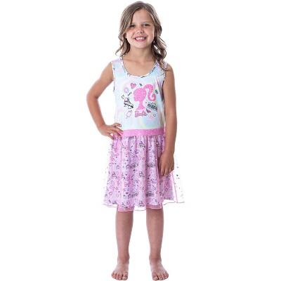 Barbie Girls' Tie-Dye Kids Tank Nightgown Pajama With Tulle Skirt Overlay