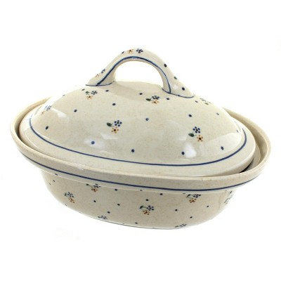 Blue Rose Polish Pottery Country Meadow Roaster with Lid