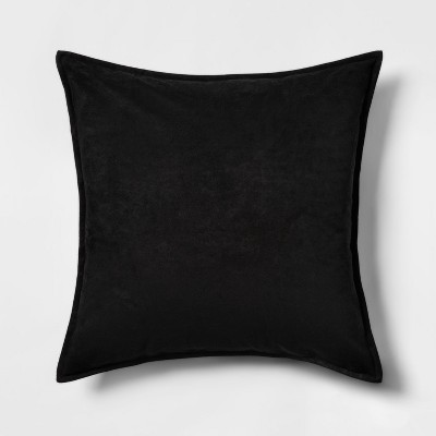 Faux Suede Square Throw Pillow Black - Project 62™