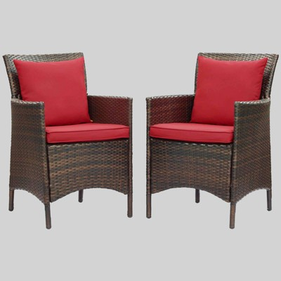 2pc Conduit Outdoor Patio Wicker Rattan Dining Armchair Brown - Modway