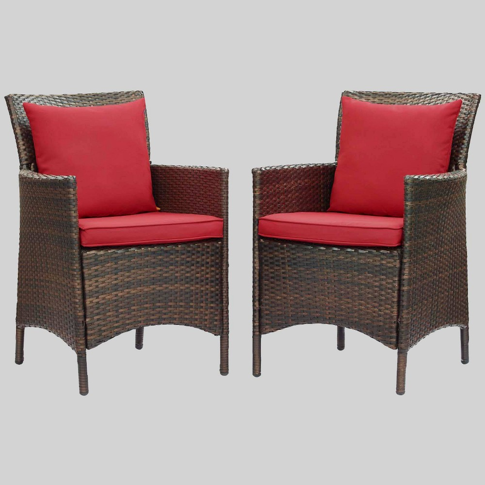2pc Conduit Outdoor Patio Wicker Rattan Dining Armchair Brown Red Modway