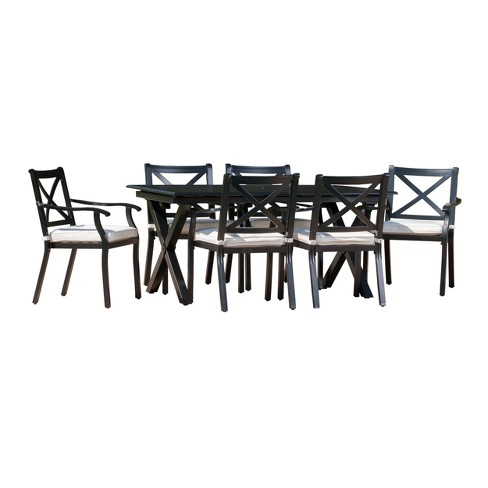 Exuma 7pc Cast Aluminum Dining Set Black Christopher Knight Home Target