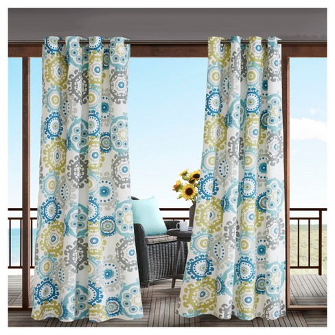 Marina Printed Medallion 3M Scotchgard Outdoor Curtain - image 1 of 2