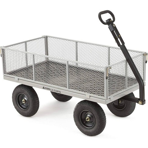 Gorilla Carts Heavy Duty Steel Utility Cart with Removable Sides and Pneumatic Tires Capacity - image 1 of 4