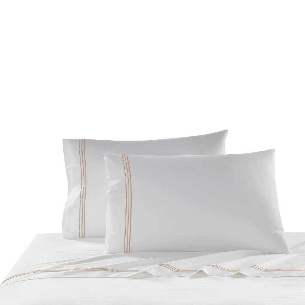 Image of Beige Stripe Border Strada Pillow Sham (Standard) 2pc - Kassatex, Medium Beige