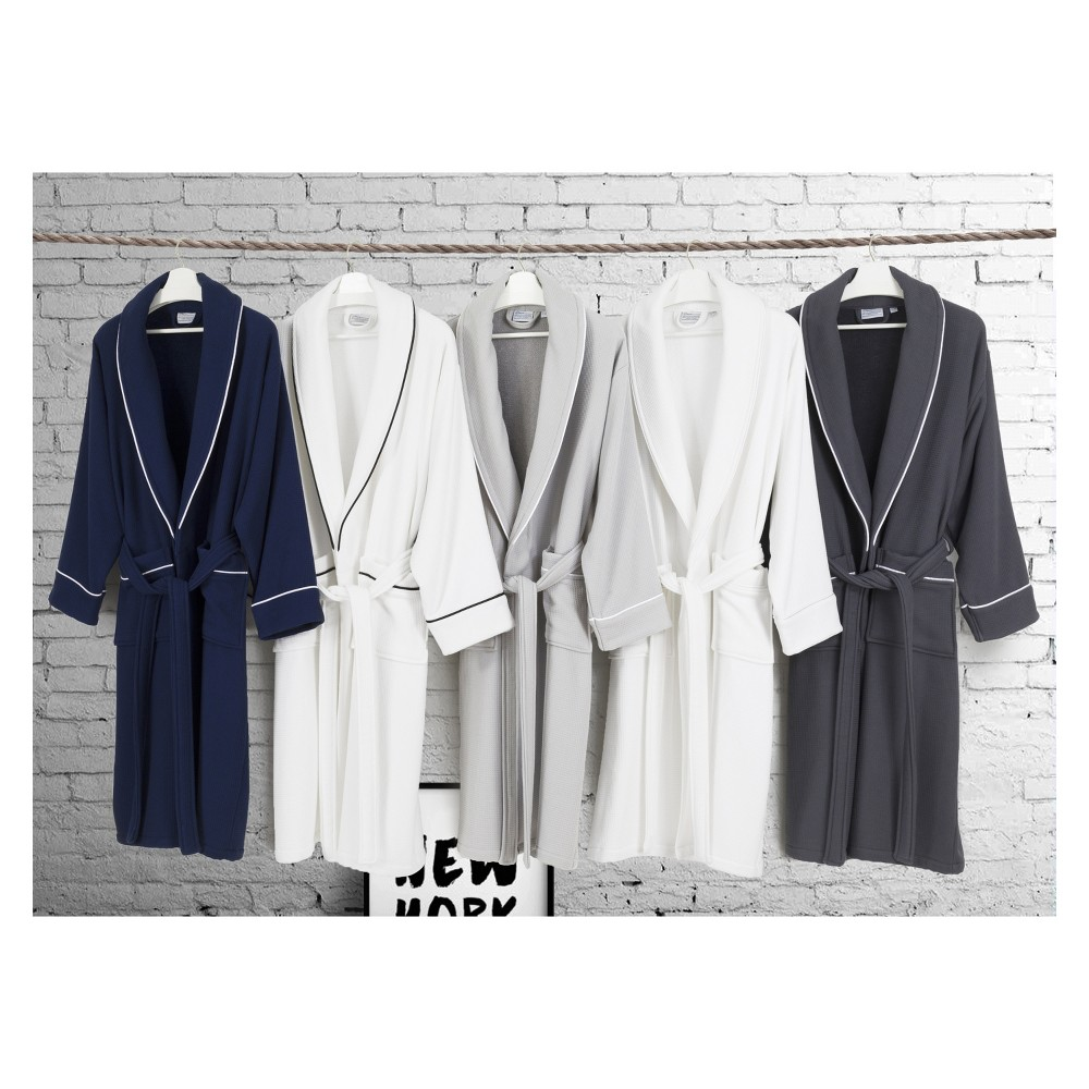 S M Waffle Terry Solid Bathrobe Navy Linum Home Textiles
