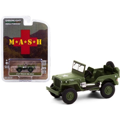 """1942 Willys MB Jeep Army Green """"MASH"""" (1972-1983) TV Series """"Hollywood Series"""" Release 30 1/64 Diecast Model Car by Greenlight"""