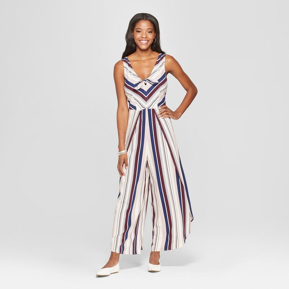 Women's Striped Sleeveless Wide Leg Tie Front Tulip Leg Jumpsuit - Xhilaration Plum (Purple) M