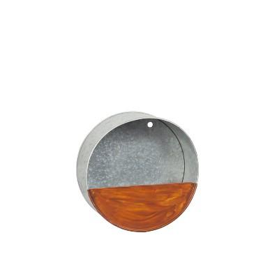 Evergreen  8-inch Galvanized Metal Circle Wall Planter