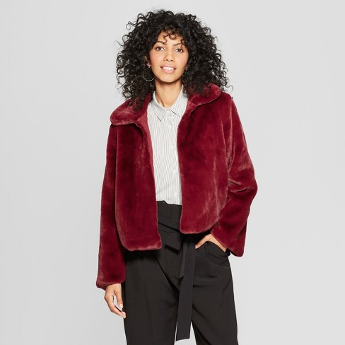 Women's Faux Fur Jacket - A New Day™ Burgundy - image 1 of 3