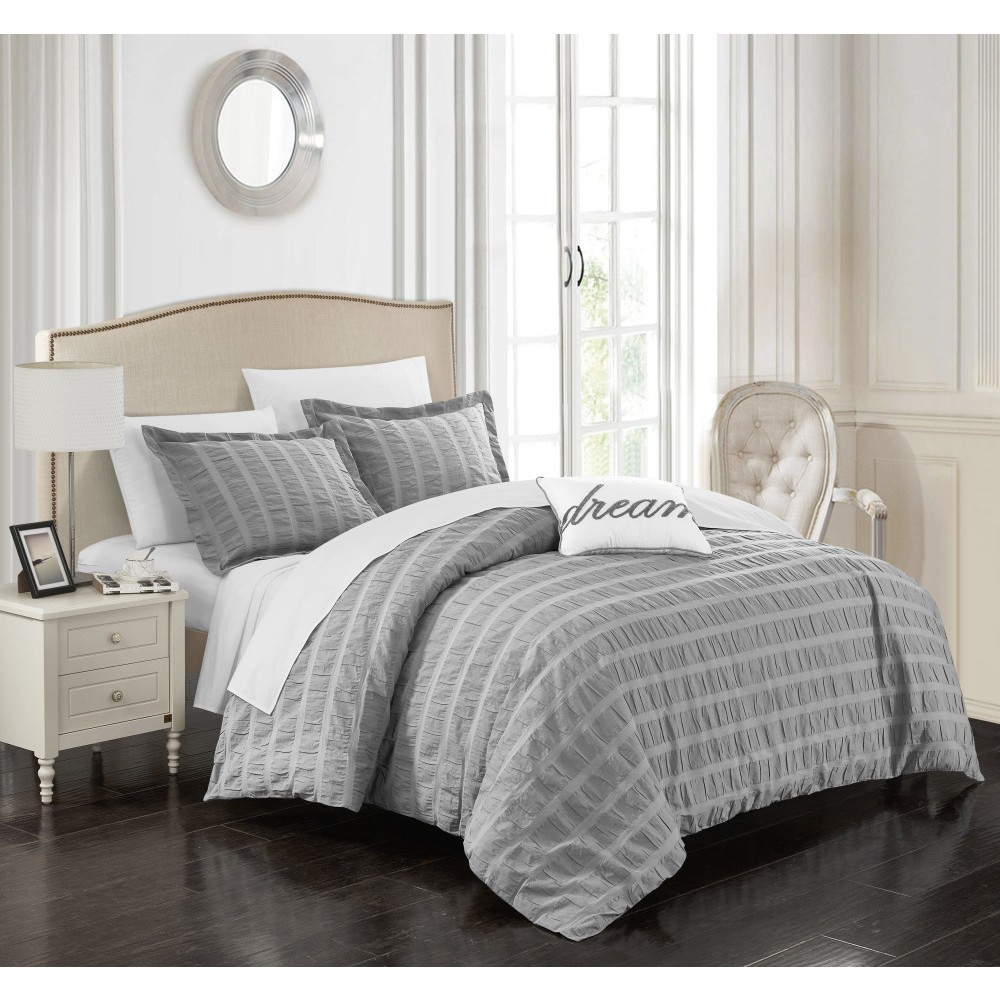 Queen 4pc Tornio Duvet Cover Set Gray - Chic Home