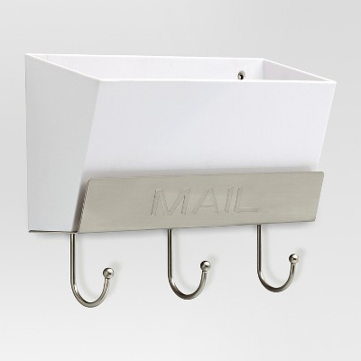 Classic Mail Holder - White/Satin Nickel - Threshold™