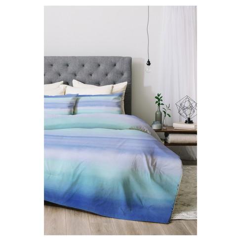 Comforter Sets Queen.Blue Amy Sia Ombre Watercolor Comforter Set Queen 3pc Deny Designs