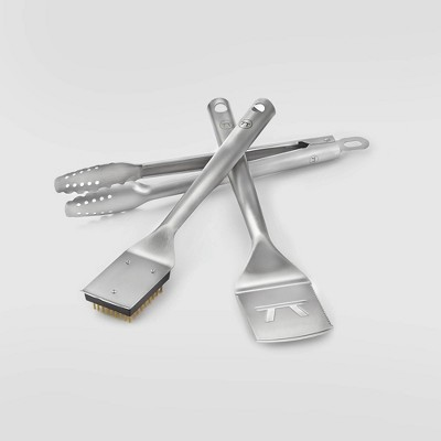 3pc Stainless Steel Lux Grill Spatula Tongs & Brush Set Silver - Outset