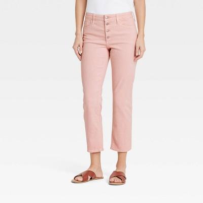 Women's High-Rise Straight Cropped Jeans - Universal Thread™ Soft Pink
