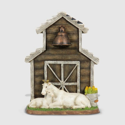 """11"""" Resin Goats In Barn Solar Statuary Brown - Exhart - image 1 of 2"""