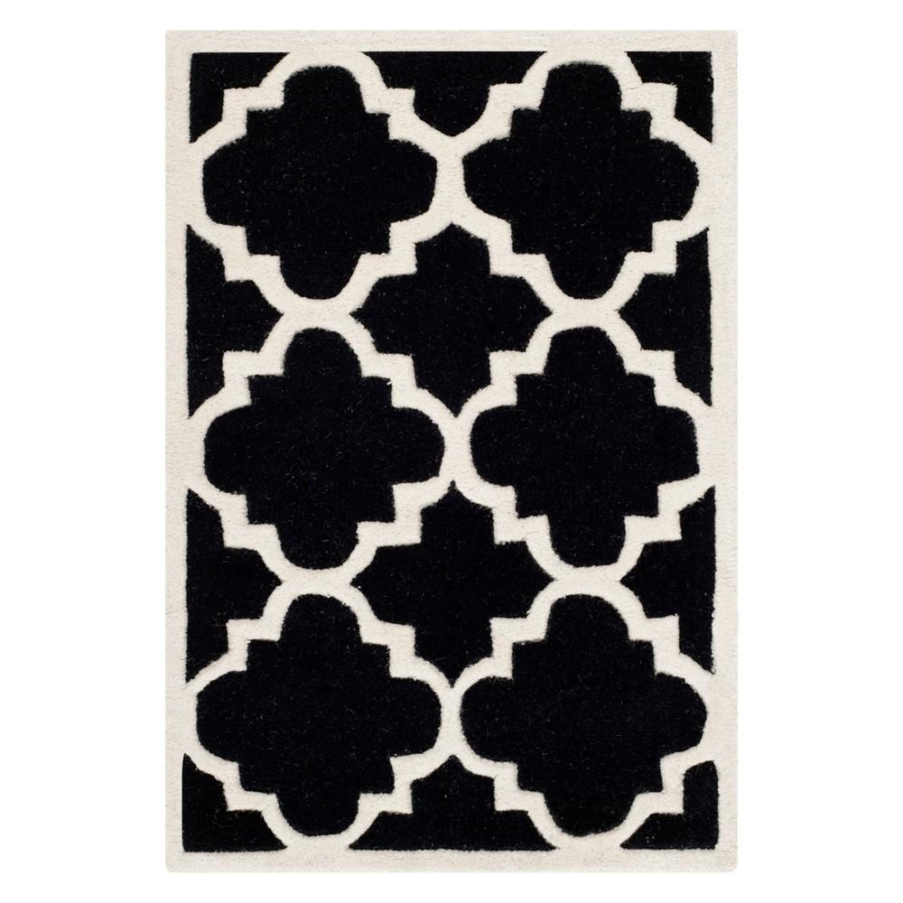 Best Shopping 2X3 Quatrefoil Design Tufted Accent Rug BlackIvory Safavieh