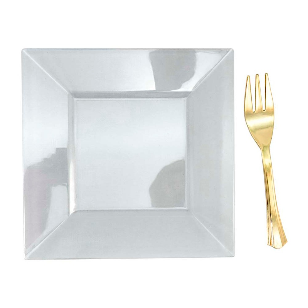 Image of 10ct Clear Mini Plates And Gold Mini Forks - Spritz
