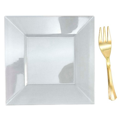 10ct Clear Mini Plates And Gold Mini Forks - Spritz™ - image 1 of 2