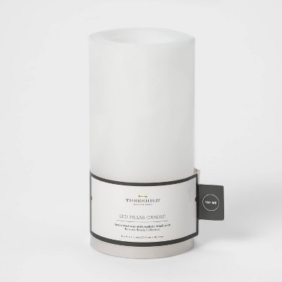 "8"" x 4"" LED Flameless Black Wick Candle White - Threshold™"