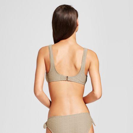 051e81c4d06 Women s Textured Bow Front Bralette Bikini Top - Sand Dollar Tan - S -  Mossimo