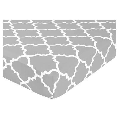 Sweet Jojo Designs Gray & White Fitted Crib Sheet - Trellis Print