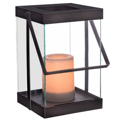 10  Metal Glass Outdoor Lantern Battery Operated - Black - Project 62™