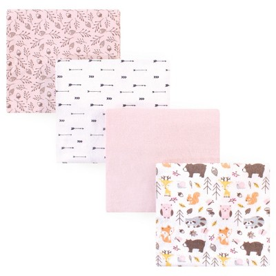 Hudson Baby Infant Girl Cotton Flannel Receiving Blankets, Girl Pinecone, One Size