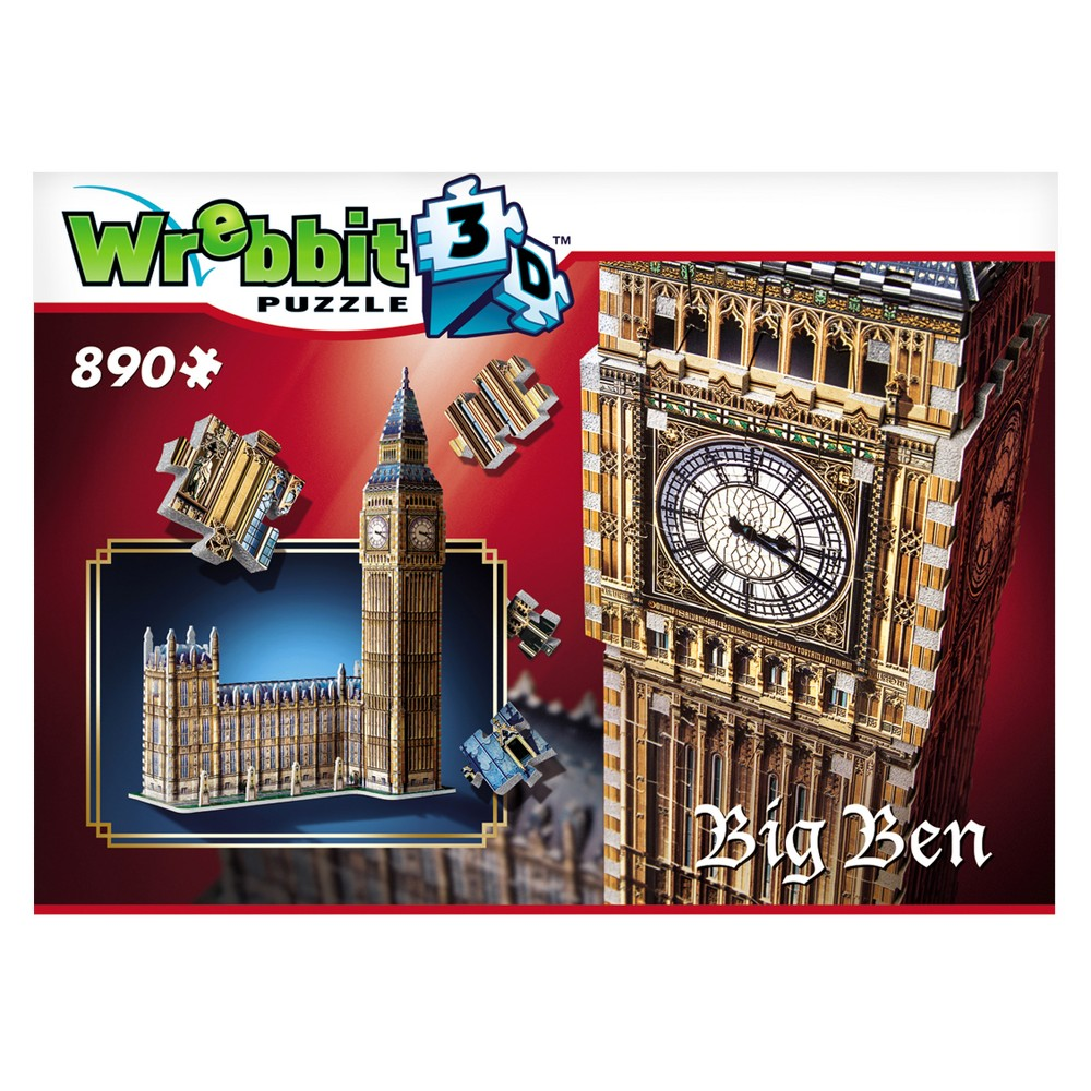 Wrebbit Big Ben 3D Puzzle 890pc One of the most loved models from our first generation of 3D puzzles, Big Ben is back bigger than ever with the addition of the Houses of Parliament. After the 2012 London Olympic Games and the renaming of the Clock Tower to Elizabeth Tower in honor of the Queen's Jubilee, this model should easily win the favour of many puzzle fans for many years. Ages - 12 and up. Number of pieces - 890. Approximate finished dimensions - 18.9 x 10.63 x 28.74 inches. Warning: Choking Hazard - Small parts. Not for children under 3 yrs. Gender: Unisex.