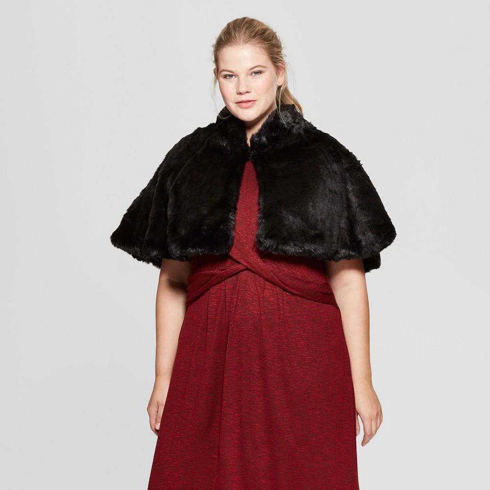 1920s Style Shawls, Wraps, Scarves Womens Plus Size Faux Fur Capelette - Estee  Lilly Black $41.99 AT vintagedancer.com