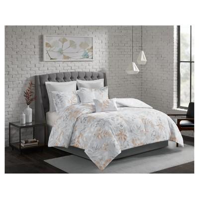 8pc King Ashley Printed Comforter Set Gray