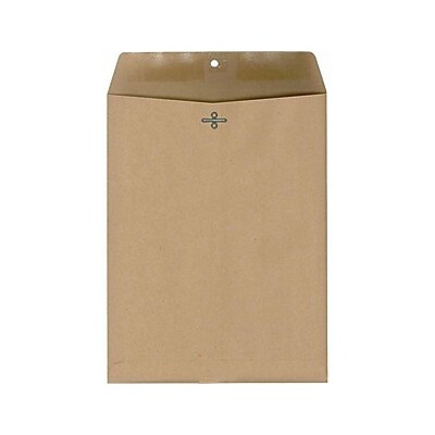 """MyOfficeInnovations Clasp 100% Recycled Envelopes 6"""" x 9"""" Natural Brown 100/BX 892541"""