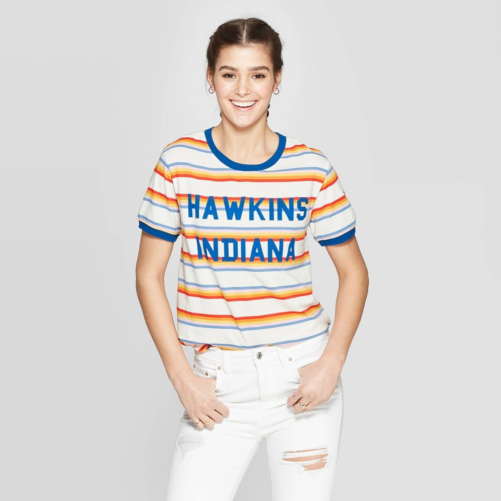 Image of Women's Stranger Things Hawkins Indiana Striped Short Sleeve T-Shirt (Juniors') - Orange/Blue/White L, Size: Large