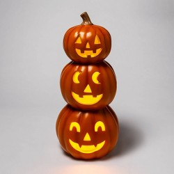Light Up Triple Stacked Orange Pumpkins Halloween Decorative Prop - Hyde & EEK! Boutique™