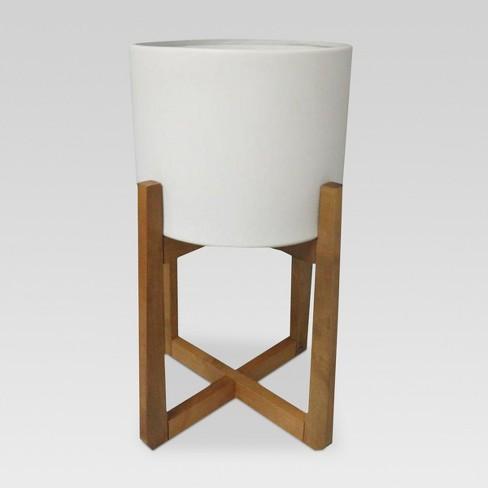 Wood & Stoneware Indoor Planter Large- White - Project 62™ - image 1 of 3