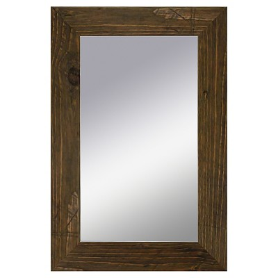 Rectangle Rustic Wood Decorative Wall Mirror Brown - PTM Images