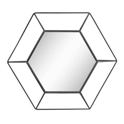 "23.7"" x 20.7"" Metal Hexagon Decorative Wall Mirror Black - Stonebriar Collection"