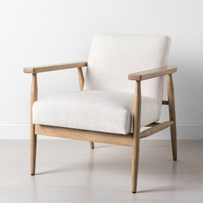 Upholstered Natural Wood Accent Chair Oatmeal - Hearth & Hand™ with Magnolia